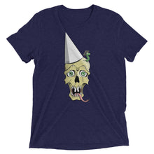 Navy blue graphic tee depicting a skull wearing a dunce cap as a worm emerges from its head.