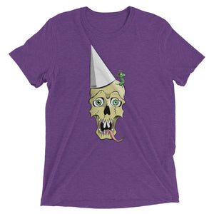 Purple graphic tee depicting a skull wearing a dunce cap as a worm emerges from its head.