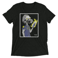 Charcoal-black graphic tee of skeleton wearing gas mask and holding flaming spray can
