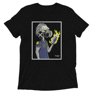 Black graphic tee of skeleton wearing gas mask and holding flaming spray can