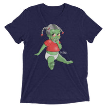 Navy blue graphic tee that depicts a baby girl with a teething ring made of teeth.