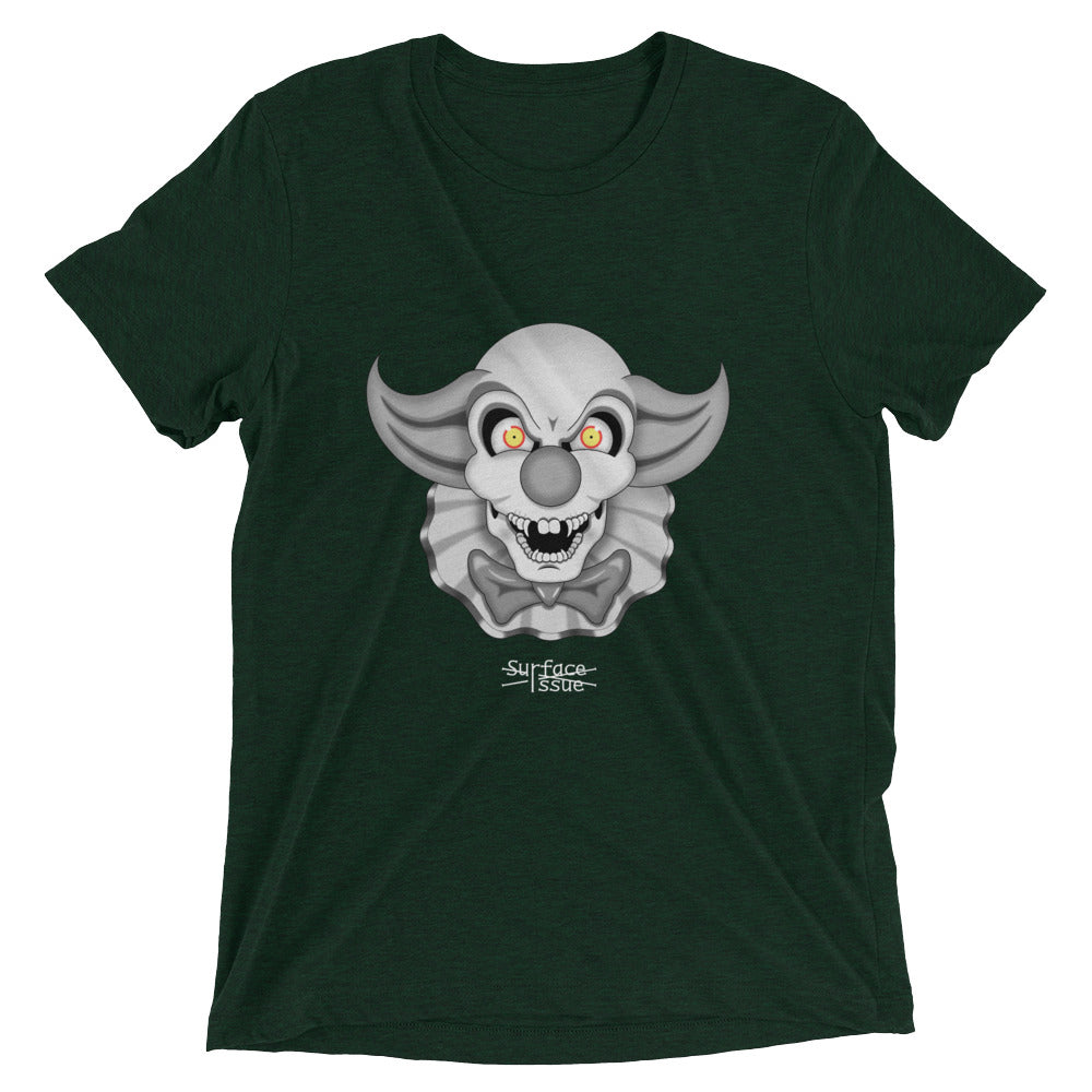 Emerald green  graphic tee of clown skull with yellow eyes, ruffles, and a bowtie.