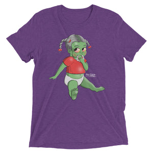 Purple graphic tee that depicts a baby girl with a teething ring made of teeth.