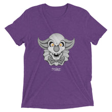 Purple graphic tee of clown skull with yellow eyes, ruffles, and a bowtie.