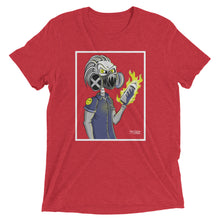 Red graphic tee of skeleton wearing gas mask and holding flaming spray can