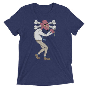 Navy Blue Graphic Tee depicting Tom as he tries to pull snot from his nose, causing his head to cave.