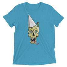 Aqua blue graphic tee depicting a skull wearing a dunce cap as a worm emerges from its head.
