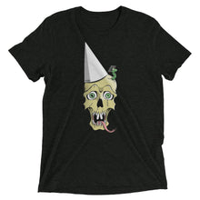 Charcoal-black graphic tee depicting a skull wearing a dunce cap as a worm emerges from its head.