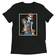 Charcoal-black graphic tee with creepy porcelain doll and three possessed teddy bears