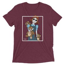 Maroon graphic tee with creepy porcelain doll and three possessed teddy bears