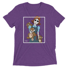 Purple graphic tee with creepy porcelain doll and three possessed teddy bears