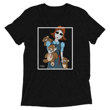Black graphic tee with creepy porcelain doll and three possessed teddy bears