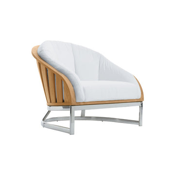 PK251  Lounge Chair With Seat And Back Cushions And Stainless Steel Base