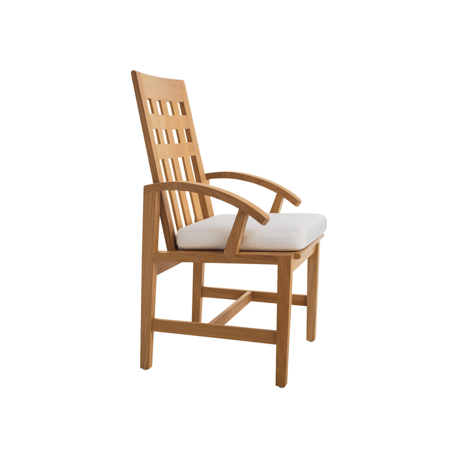 TR201 Trestle Dining Arm Chair with Seat Cushion