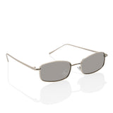 Extra Small Rectangular Thin Metal Frame Grey Sunglasses