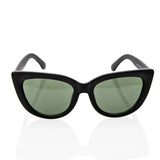 Vintage Inspired Fashion Mod Chic High Pointed Cat Eye Green Lens Sunglasses