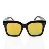 Black Oversized Square High Fashion Sunglasses - Yellow Lens