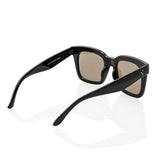 Black Oversized Square High Fashion Sunglasses - Light Turquoise Lens