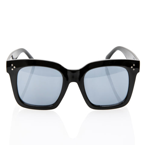 Black Oversized Square High Fashion Sunglasses - Light Blue Lens