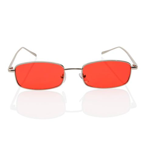 Extra Small Rectangular Thin Metal Frame Red Sunglasses