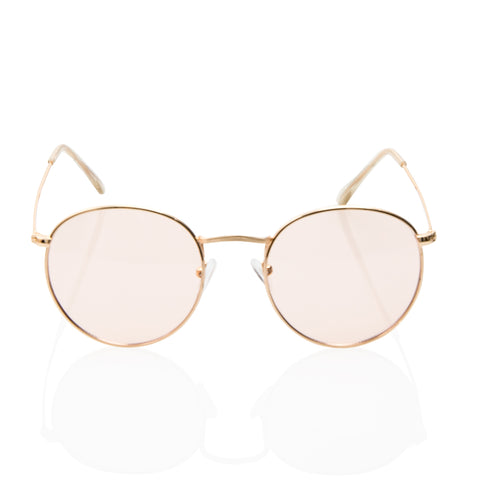 Cute Trendy Round Light Pink Transparent Sunglasses