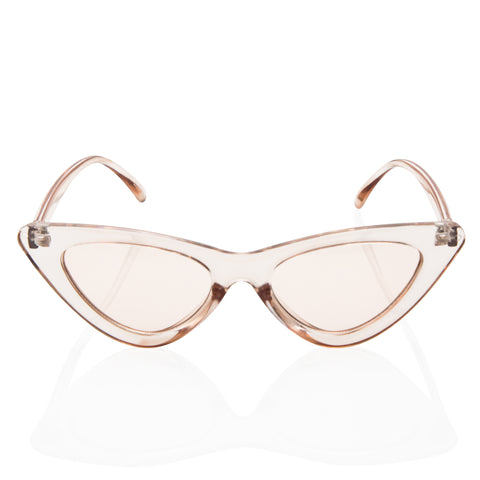 Clear Cat Eye Fashion Sunglasses - Light Beige Transparent Lens