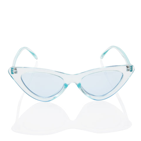 Clear Cat Eye Fashion Sunglasses - Light Blue Transparent Lens