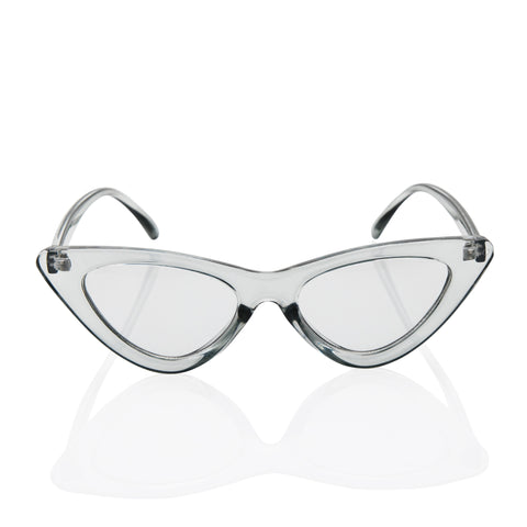 Clear Cat Eye Fashion Sunglasses - Light Grey Transparent Lens