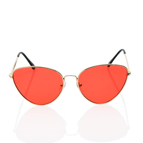 Sexy Pointed Cat Eye Red Transparent Lens Sunglasses