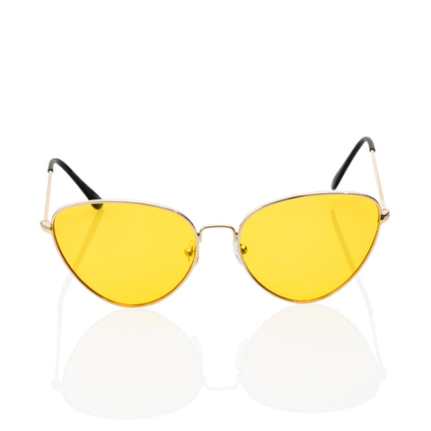 Sexy Pointed Cat Eye Yellow Transparent Lens Sunglasses