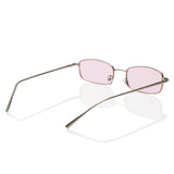 Extra Small Rectangular Thin Metal Frame Pink Sunglasses