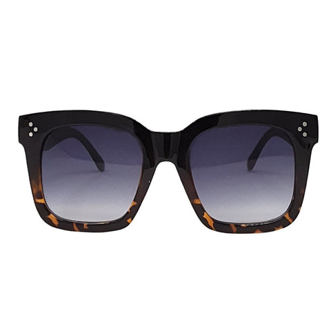 Black Oversized Square High Fashion Sunglasses - Black Tortoise Ombre