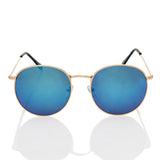 Retro Round Blue Mirror Lens Metal Frame