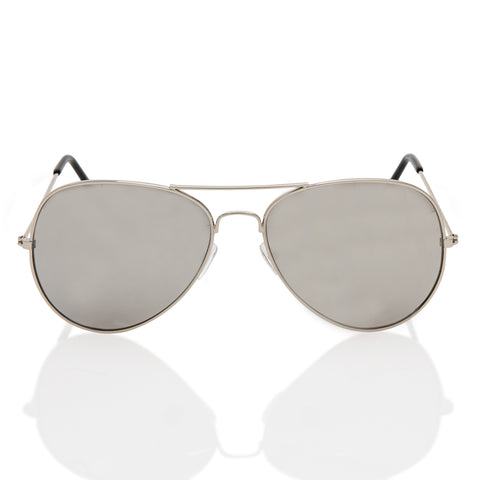 Mirror Aviator Sunglasses with Metal Silver frame