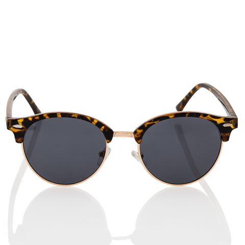 Classic Tortoise Shell Semi-Rimless Browline Sunglasses