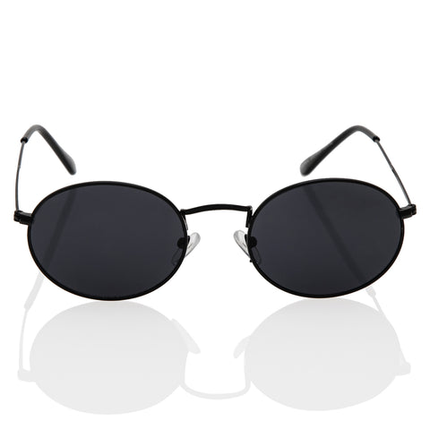 Oval Round Sunglasses with Black Metal Frame