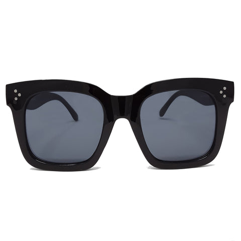 Black Oversized Square High Fashion Sunglasses - Black Lens