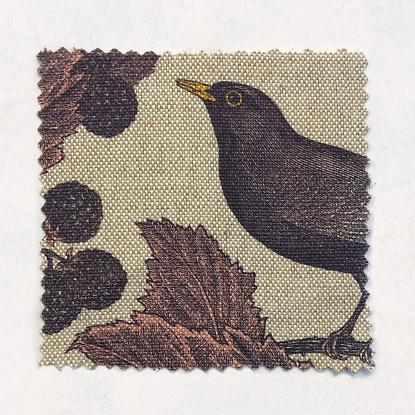 Blackbird & Bramble Fabric on Oatmeal Linen