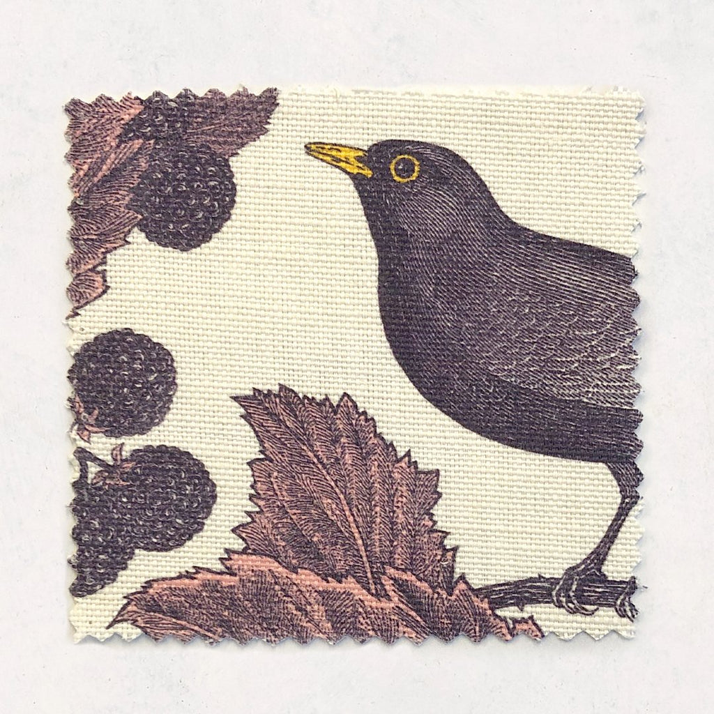 Blackbird & Bramble Fabric on Oyster Linen