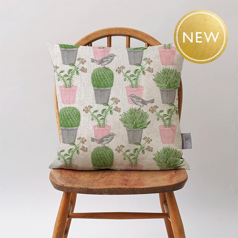 Cactus & Bird Cushion on Oatmeal