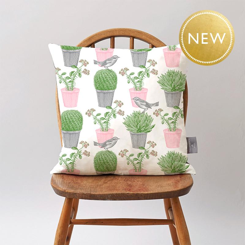 Cactus & Bird Cushion on Oyster