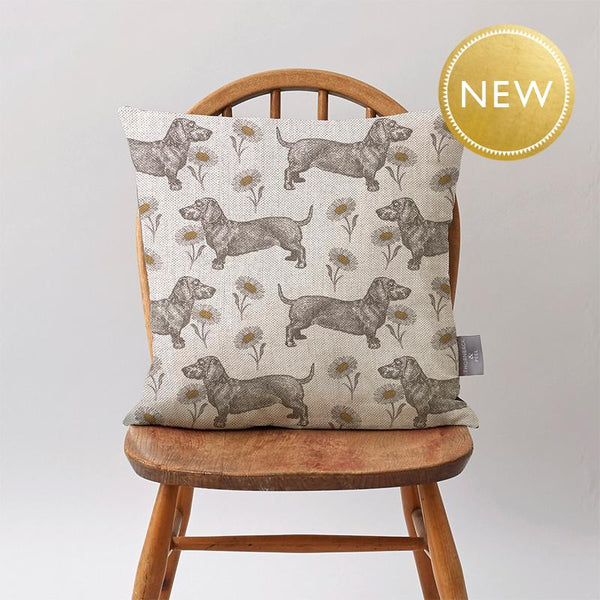 Dog & Daisy Cushion on Oatmeal