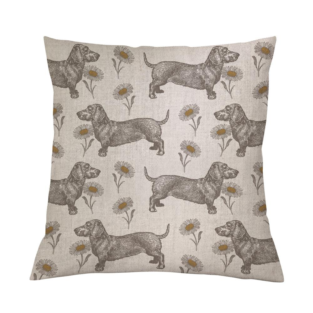 Dog & Daisy Cushion Cover on Oatmeal