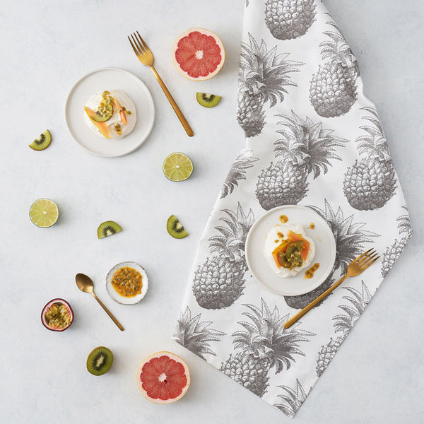 Grey Pineapple Tea Towel