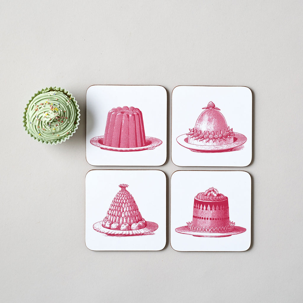 Pink Jelly & Cake Coaster Set of Four