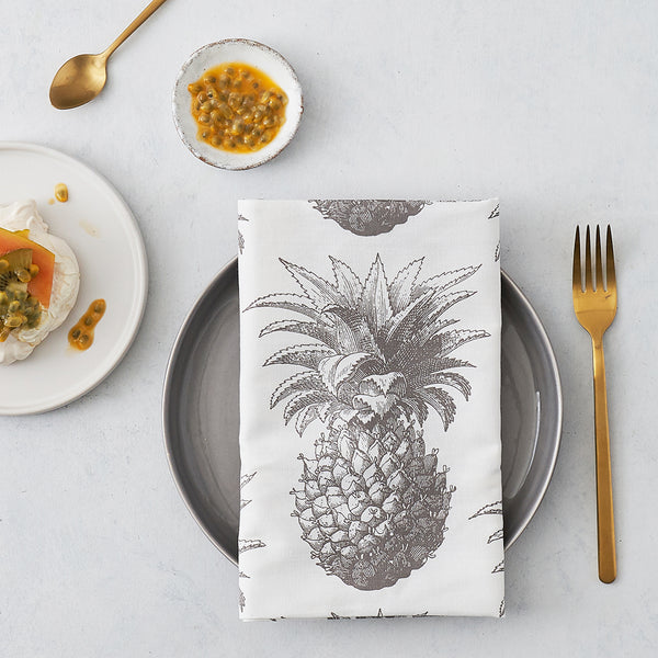 Grey Pineapple Napkin Set of Four