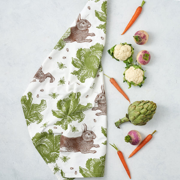 Classic Rabbit & Cabbage Tea Towel
