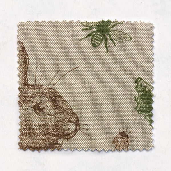 Rabbit & Cabbage Classic Fabric on Oatmeal Linen