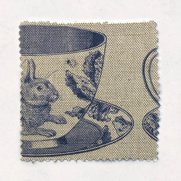 Teacup Fabric on Oatmeal Linen
