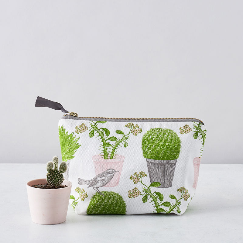 Cactus & Bird Cosmetic Bag